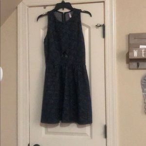 Navy blue and silver mini dress.